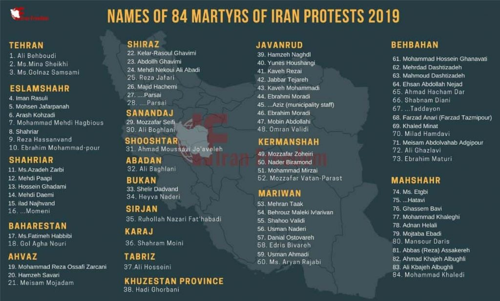 Iran protests report – death toll surpasses 450
