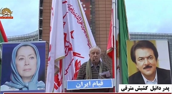 Father Daniel at the demonstration by Iranians, MEK supporters in Brussels