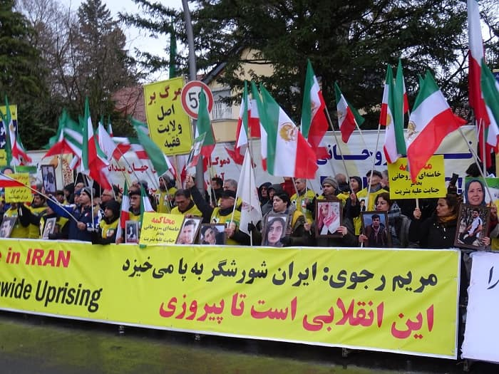 Supporters of MEK/PMOI in Berlin rally in front of Iran's embassy to support Iran Protests