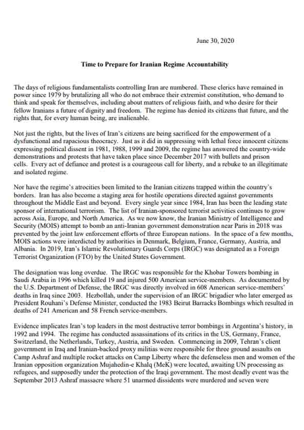 Letter of the bipartisan U.S. figures in support of MEK - Page 1