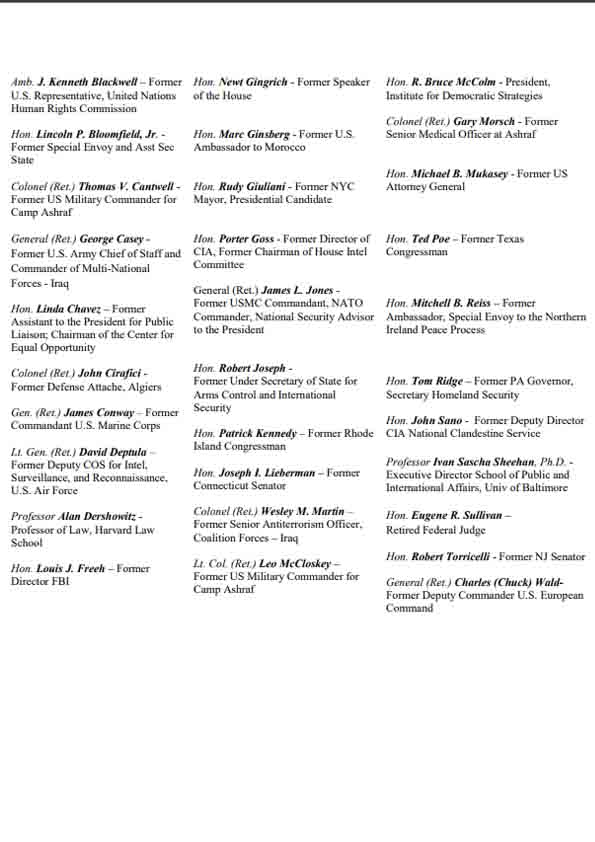 Letter of the bipartisan U.S. figures in support of MEK - Page 3