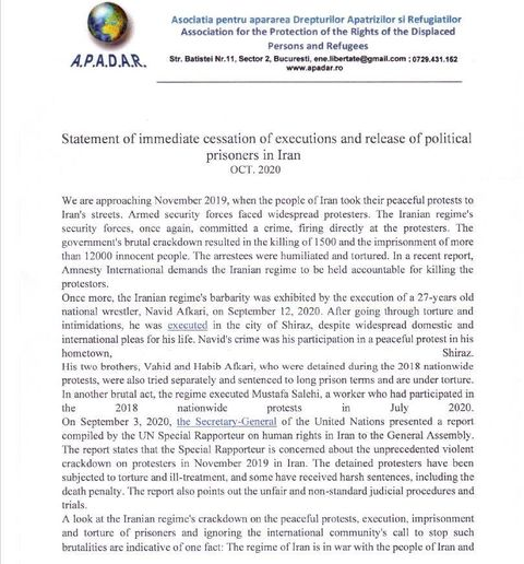 Statement by the (A.P.A.D.A.R) in Romania on the Eve of the Anniversary of the Nationwide Iran Protests in November 2019- page 1