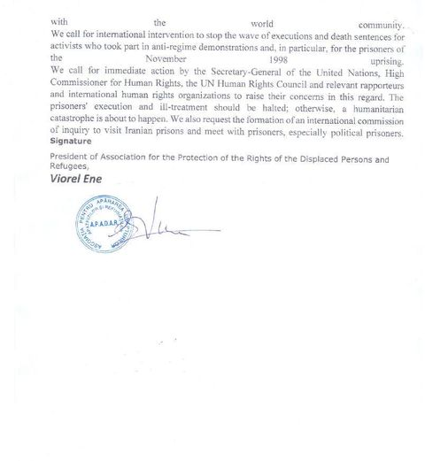 Statement by the (A.P.A.D.A.R) in Romania on the Eve of the Anniversary of the Nationwide Iran Protests in November 2019 - page 2