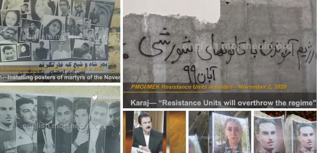The MEK Resistance Units in Iran Install Posters of Martyrs and November 2019 Protests