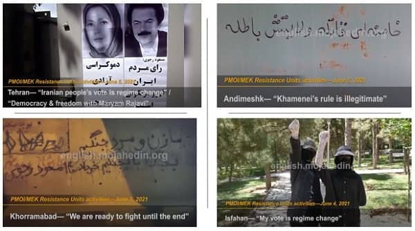PMOI/MEK Resistance Units continue to promote the Iranian regime's sham election boycott. They install banners of the Iranian Resistance leader Massoud Rajavi and the NCRI President-elect Maryam Rajavi in public areas.
