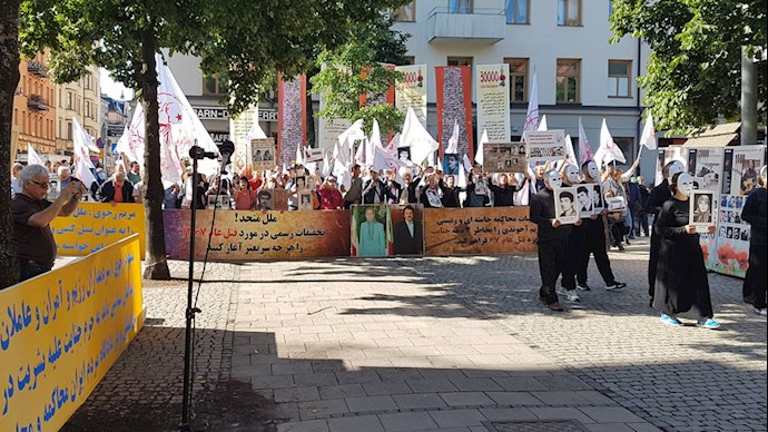 Iranians Supporters of the MEK Demonstrated in Front of the Court of the Executioner Hamid Noury for the 3rd day - Stockholm, August 12, 2021