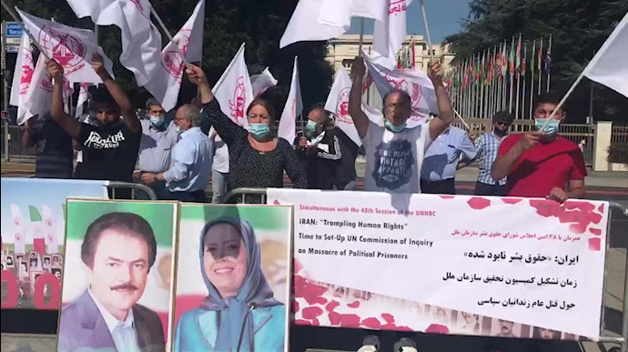 September 13, 2021 — Supporters of the People's Mojahedin Organization of Iran (PMOI/MEK) in Switzerland, declared their solidarity with the Iranian People's seeking justice movement during a demonstration in Geneva.