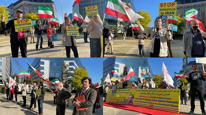 Supporters of the National Council of Resistance of Iran (NCRI) and the People's Mojahedin Organization of Iran (PMOI/MEK) demonstrated in front of the European Commission headquarters in Schuman Square in Brussels and in Antwerp, Belgium