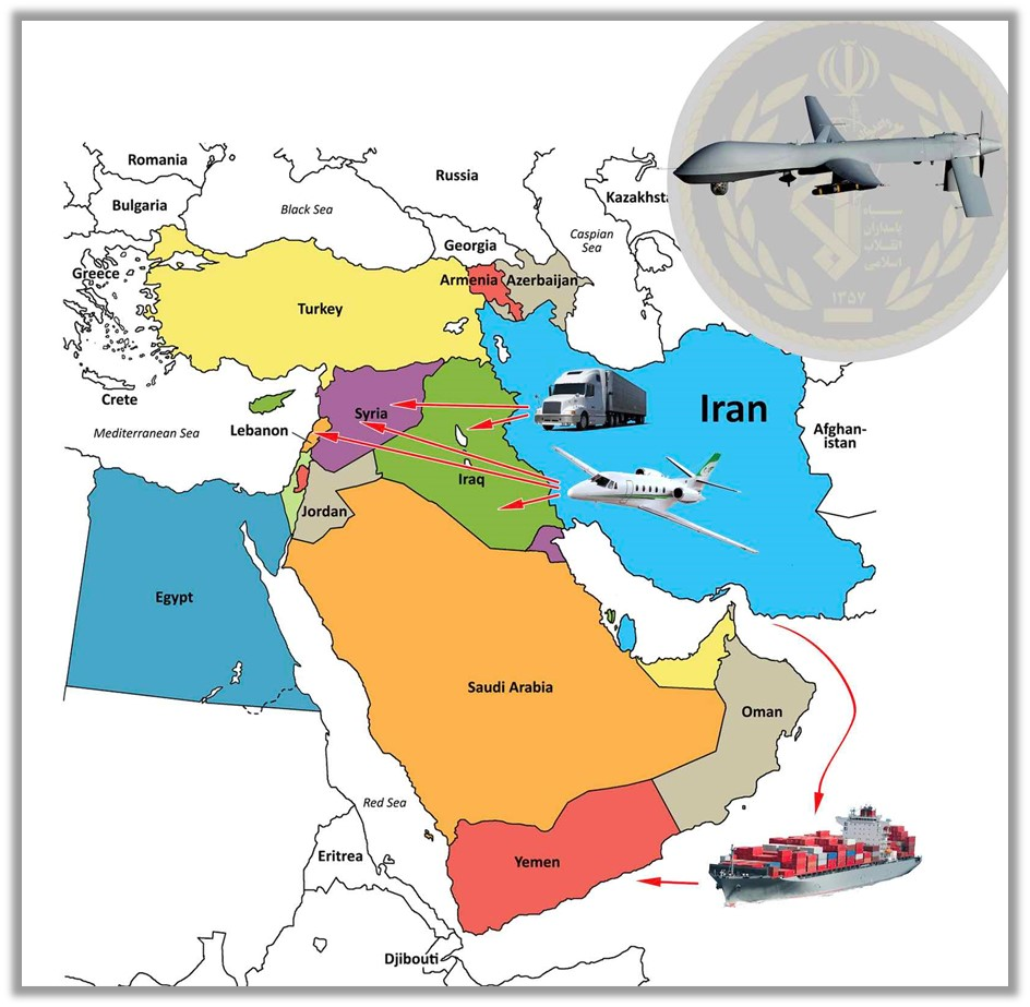 Quds Force uses various air, land, and sea pathways to send weapons and equipment, including UAV parts, to its proxies in the countries of the region
